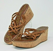Sam Edelman Size 10M Reana Brown Leather Strappy Platform Wedge Cork Heels - $24.22