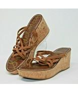 Sam Edelman Size 10M Reana Brown Leather Strappy Platform Wedge Cork Heels - $24.22