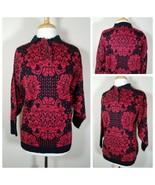 Erika Femmes Pull Vintage Noir Rouge Poinsettia Vacances Collier en Tricot - $29.68