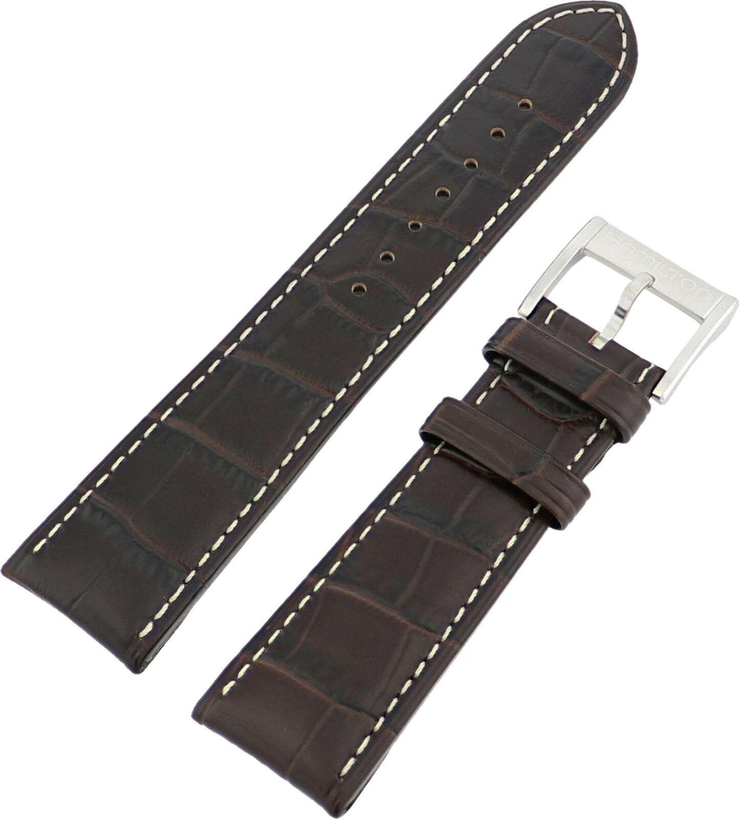 Hamilton 24/22mm Genuine Dark Brown Leather Strap SHIPSFREE - $105.00
