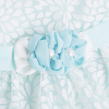 Mayoral Baby Girl 0M-12M Aqua Blue White Burnout Floral Social Dress image 3