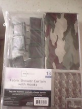 Camo Fabric Shower Curtain Set With Hooks - Mainstay' 70 x 70 NEW! - $15.84