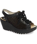 NIB FLY LONDON YORL BLACK LEATHER PLATFORM WEDGE LACE SANDALS US 9 EU 40 - $118.75