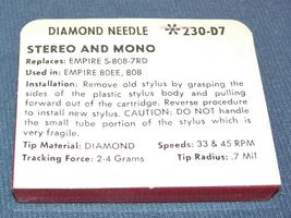 TURNTABLE NEEDLE STYLUS for EMPIRE 808E 80EE S-808-7RD EMPIRE 808 230-D7 image 3