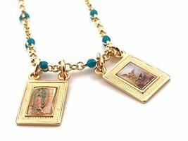 "LESLIE BOULES Gold Filled Scapular Necklace 17"" Green Beads Chain Religi... - $36.05"