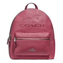 NWT COACH Jes Charlie Backpack Logo Bag Horse Carriage Rouge Pink Gold F... - $127.71