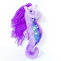 "Aurora Sea Sparkles Sea Horse Plush 8"" Purple Yarn Hair Stuffed Animal Toy - $11.74"