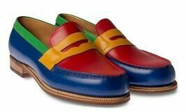 Men Blue Red Yellow Green Multi Color Moccasin Loafers Slip Ons Leather Shoes image 2