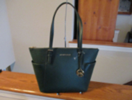 Authentic Michael Kors EW TZ Tote Racing Green Jet Set Item Leather NWT ... - $133.64
