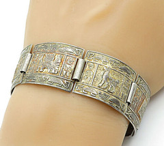 925 Sterling Silver - Vintage Traditional Story Teller Chain Bracelet - ... - $70.13