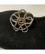 hammered silver tone flower cuff bracelet Shiny Abstract Floral Boho - $14.03