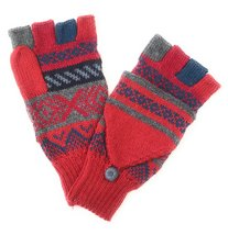 Alpaca flip back mitten gloves. Elegant and warm! Unisex. (Red) - $493,35 MXN