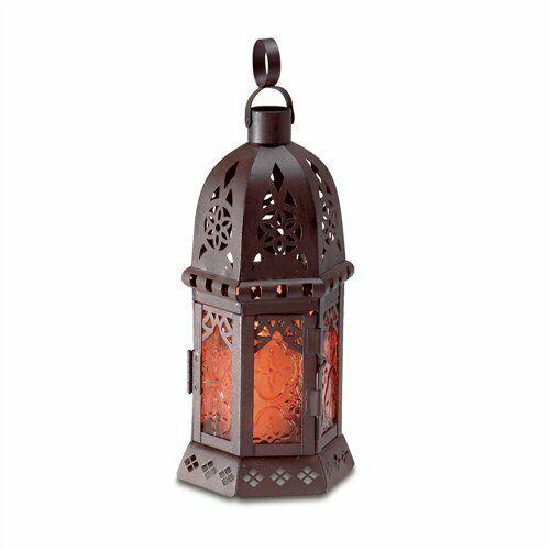 Amber Glass Petite Moroccan Black Metal Candle Lantern