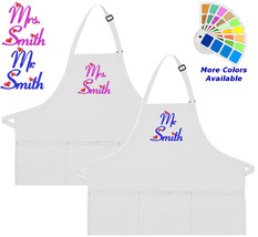 Personalized Apron Embroidered Mr and Mrs Hearts Embroidery Design Wedding Gift - $37.39+