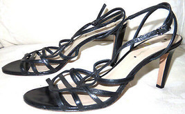 Via Spiga Ima Black Strappy Leather Open Toe Ankle Strap Heels Sz 9 M - $23.76