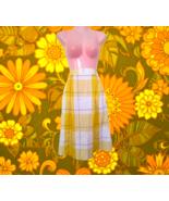 vintage petite yellow plaid midi skirt size xs small 4 6 extra small pre... - $24.99