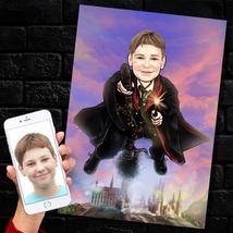 Flying Harry Potter Quidditch Custom Caricature, Hogwarts Gryffindor Bro... - $35.14+