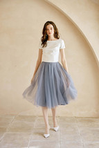 Gray High Waisted Midi Tulle Skirt Outfit Softest Tulle Wedding Skirt Plus Size image 1