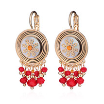 3 Colors Bohemia Beads Hanging Drop Earrings Flower Round Shell Dangle Ear Pendi - $15.69