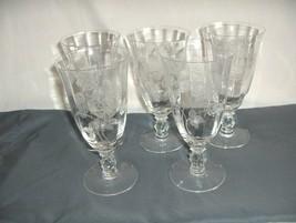 "5 Vintage Heisey Glass Crystal Heisey Rose 6.75"" Iced Tea Goblets 5072  NICE - $143.55"