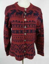 Woolrich S Cardigan Sweater LS Red Blue Moose Fair Isle Pewter Buttons  - $59.39