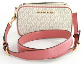 Michael Kors Cross Body Clutch Bag Connie Vanilla Rose Small Logo Monogram - $184.17