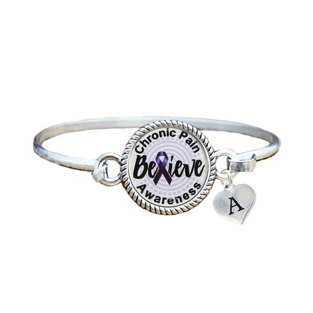 Primary image for Custom Chronic Pain Awareness Believe Silver Bracelet Jewelry Choose Initial