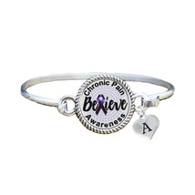 Custom Chronic Pain Awareness Believe Silver Bracelet Jewelry Choose Ini... - $13.80+