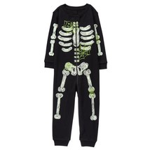 nwt gymboree skeleton black glow in the dark halloween gymmies pajamas romper