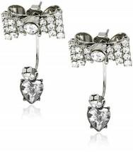 "Betsey Johnson ""Iconic"" Crystal Bow Heart Drop Earrings - $59.97"