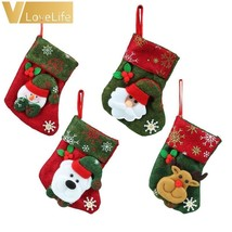 Lovely CHRISTMAS Stockings Socks 2018 New Year Santa Claus Candy Gift Ba... - $2.49