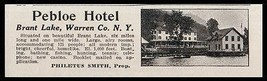 Brant Lake 1915 Pebloe Hotel 125 Guests Sports Casino Warren County NY P... - $12.99