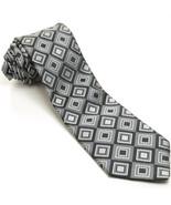 NEW TED BAKER 58L Gray Black Bold Geometric Woven Silk Mens Neck Tie - $89.10
