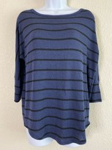 Market & Spruce Womens Size M Blue Striped Knit Blouse Elbow Sleeve - $10.93
