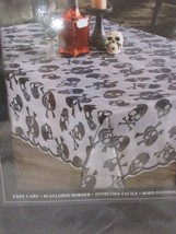 "Skull & Bones Halloween Black Lace Cloth Tablecloth 60"" X 84"" - $24.99"