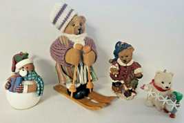 Christmas Time Figures Teddy Bears: Skiing, Snowball, Toys, polar, penguin - $18.99