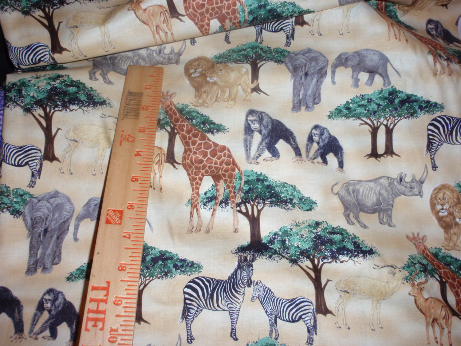 Quilter Fabric Animals Elephant, Giraffe, Monkey, Lion. Tiger, Zebra and More