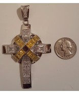 Sterling 925 Silver Canary Yellow CZ Cross Charm Pendant 3.5 inches 50 g... - $149.99