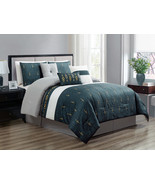 7-Pc Lozenge Diamond Ornament Comforter Set Antique Navy Blue Gray White... - $86.94