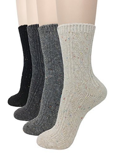 Eedor Womens 4 Pairs Winter Knitting Warm Wool Crew Socks Casual