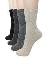 Eedor Womens 4 Pairs Winter Knitting Warm Wool Crew Socks Casual - £17.47 GBP