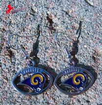 Los Angeles Rams Dangle Earrings, Sports Earrings, Football Fan Earrings_01 - $5.95