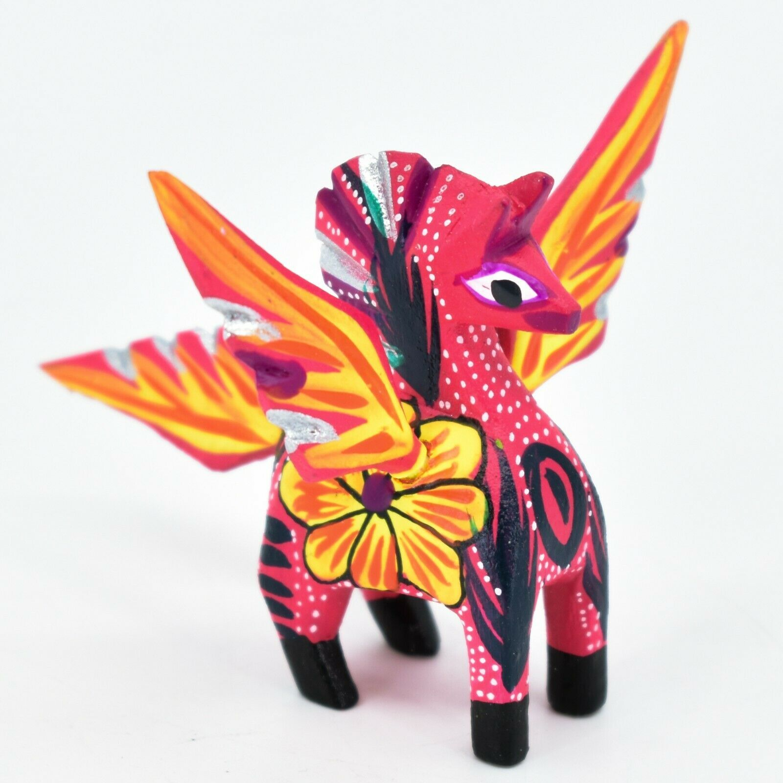 Handmade Alebrijes Oaxacan Wood Carved Folk Art Mini Pegasus Horse Figurine