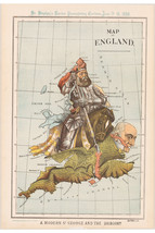 England; Antique Allegorical Map; Modern St. George & The Dragon 1888 - $26.72+