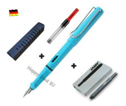 Lamy Safari Sky Blue Fountain Pen F Nib Set Free Converter + 5 black T10 ink - $26.10