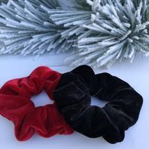 Set Of Two High Quality Velvet Hair Scrunchies. Handmade Ponytail Holder. - $8.00