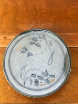Artist Signed Shades of Blue Leaf & Rusty Orange Berry Round Pottery Til... - $12.19