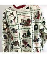 Vtg NUTCRACKER Ugly Christmas Sweatshirt Santa Stockings block print USA... - $14.84
