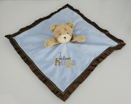 Carter's Child of Mine Blue Brown I Love Hugs Bear Lovey Baby Security B... - $12.81