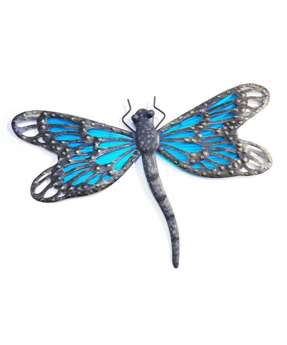 """17.7"""" Blue Glass and Metal Dragonfly Wall Decor Suncatcher"""